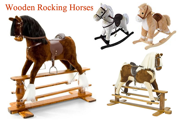 Large Wooden Rocking Horses with saddle Toddler Plush Rocking Horse
