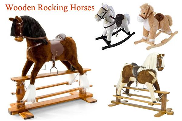 Large Wooden Rocking Horses with saddle Toddler Plush Rocking Horse